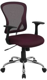 Mid-Back Burgundy Mesh Swivel Task Office Chair with Chrome Base and Arms