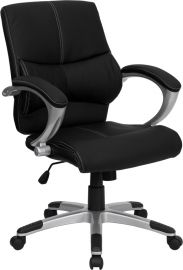 Mid-Back Black Leather Contemporary Swivel Manager's Office Chair with Arms