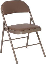 Marvelius Series Double Braced Beige Vinyl Folding Chair