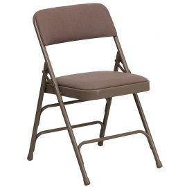 Marvelius Series Curved Triple Braced & Double Hinged Beige Fabric Metal Folding Chair