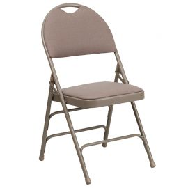 Marvelius Series Ultra-Premium Triple Braced Beige Fabric Metal Folding Chair with Easy-Carry Handle
