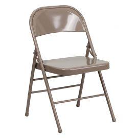 Marvelius Series Triple Braced & Double Hinged Beige Metal Folding Chair