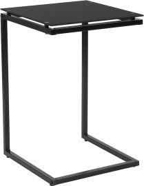 Yelena Black Glass End Table with Black Metal Frame