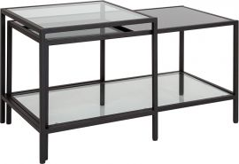 Warner Multi-Tiered Glass Coffee Table with Black Metal Frame