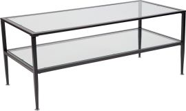 Nestor Collection Glass Coffee Table with Black Metal Frame