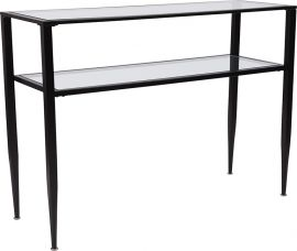 Nestor Collection Glass Console Table with Shelves and Black Metal Frame
