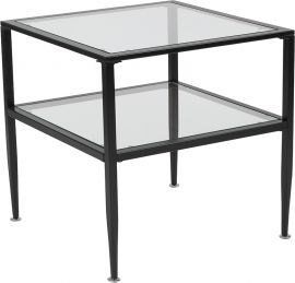 Nestor Collection Glass End Table with Black Metal Frame