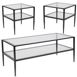 Nestor Collection 3 Piece Coffee and End Table Set with Glass Tops and Black Metal Frames