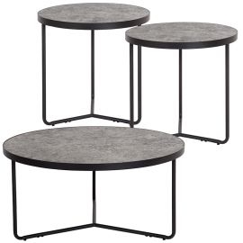 Prudence 3 Piece Round Coffee and End Table Set in Concrete Finish