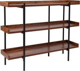 """Mystery 3 Shelf 35""""H Storage Display Unit Bookcase with Black Metal Frame in Rustic Wood Grain Finish"""