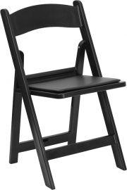 Marvelius Series 1000 lb. Capacity Black Resin Folding Chair with Black Vinyl Padded Seat