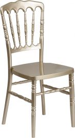 Marvelius Series Gold Resin Stacking Napoleon Chair