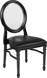 Marvelius Series 900 lb. Capacity King Louis Chair with Transparent Back, Black Vinyl Seat and Black Frame