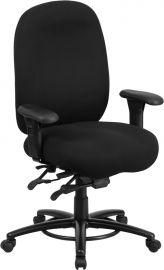 Marvelius Series 24/7 Intensive Use Big & Tall 350 lb. Rated Black Fabric Multifunction Ergonomic Office Chair - Foot Ri