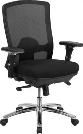 Marvelius Series 24/7 Intensive Use Big & Tall 350 lb. Rated Black Mesh Multifunction Swivel Ergonomic Office Chair