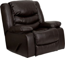 Plush Brown Leather Lever Rocker Recliner with Padded Arms