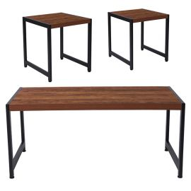Orchard Collection 3 Piece Coffee and End Table Set in Rustic Wood Grain Finish and Black Metal Frames