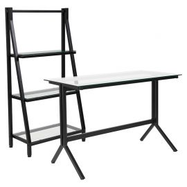 Plateau Collection Glass Computer Desk and Bookshelf with Black Metal Frame