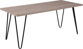 Oakley Collection Driftwood Wood Grain Finish Coffee Table with Black Metal Legs