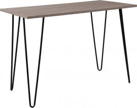 Oakley Collection Driftwood Wood Grain Finish Console Table with Black Metal Legs