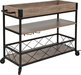 Wilmot Distressed Light Oak Wood and Iron Kitchen Serving and Bar Cart with Wine Glass Holders