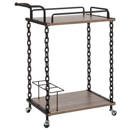 Northtown Light Oak Wood and Industrial Iron Kitchen Serving and Bar Cart