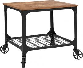 Sapphire Rustic Wood Grain and Industrial Iron Kitchen Serving and Bar Cart
