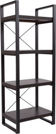 "Therron Collection 4 Shelf 62""H Etagere Bookcase in Charcoal Wood Grain Finish"