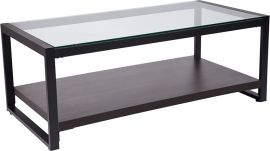 Roselynn Glass Coffee Table with Black Metal Frame