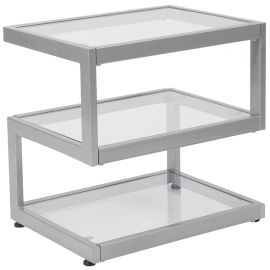 Lincy Glass End Table with Contemporary Steel Design