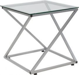 Roverland Collection Glass End Table with Contemporary Steel Design