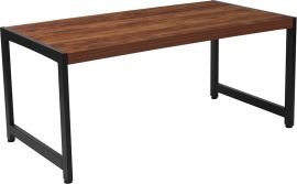 Orchard Collection Rustic Wood Grain Finish Coffee Table with Black Metal Frame