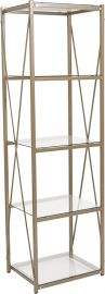 """Outlook Collection 4 Shelf 64""""H Cross Brace Glass Bookcase in Matte Gold"""