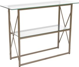 Outlook Collection Glass Console Table with Matte Gold Frame
