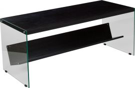 Oakland Collection Dark Ash Finish Coffee Table with Shelves and Glass Frame
