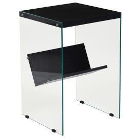 Oakland Collection Dark Ash Finish End Table with Shelves and Glass Frame