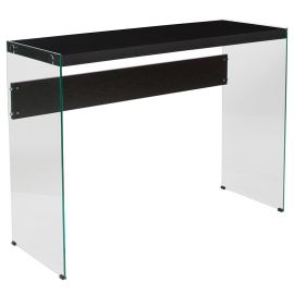 Oakland Collection Dark Ash Finish Console Table with Shelves and Glass Frame