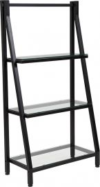 "Plateau Collection 3 Shelf 45.5""H Glass Bookcase with Black Metal Frame"