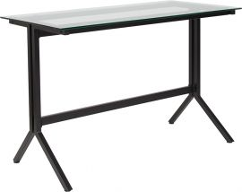 Plateau Collection Glass Computer Desk with Black Metal Frame