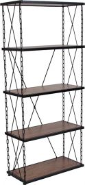 "Vester Collection 4 Shelf 57""H Chain Accent Metal Frame Bookcase in Antique Wood Grain Finish"