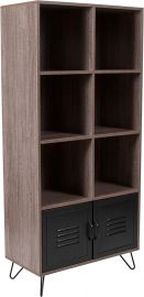 """Woodrow Collection 59.25""""H 6 Cube Storage Organizer Bookcase with Metal Cabinet Doors and Metal Legs in Rustic Wood Grai"""
