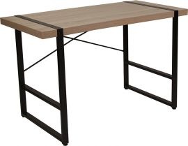 Nicholls Park Rustic Wood Grain Finish Console Table with Black Metal Frame