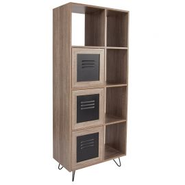 "Woodrow Collection 63""H 5 Cube Storage Organizer Bookcase with Metal Cabinet Doors in Rustic Wood Grain Finish"
