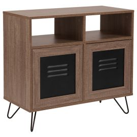 """Woodrow Collection 29.75""""W 2 Shelf Storage Console/Cabinet with Metal Doors in Rustic Wood Grain Finish"""