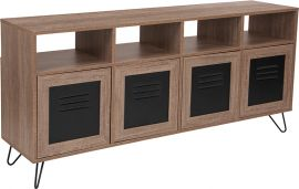 """Woodrow Collection 85.5""""W 4 Shelf Storage Console/Cabinet with Metal Doors in Rustic Wood Grain Finish"""