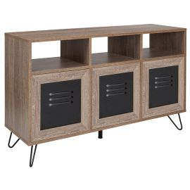 """Woodrow Collection 44""""W 3 Shelf Storage Console/Cabinet with Metal Doors in Rustic Wood Grain Finish"""