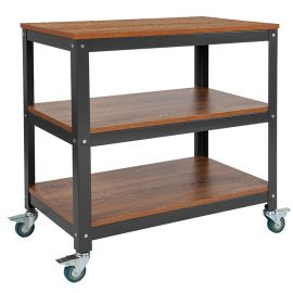 """Livy Collection 30""""W Rolling Storage Cart with Metal Wheels in Brown Oak Wood Grain Finish"""