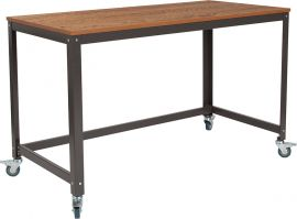 Livy Collection Computer Table and Desk in Brown Oak Wood Grain Finish with Metal Wheels