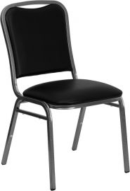 Marvelius Series Stacking Banquet Chair in Black Vinyl - Silver Vein Frame