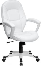 Mid-Back White Leather Tapered Back Executive Swivel Office Chair with White Base and Arms